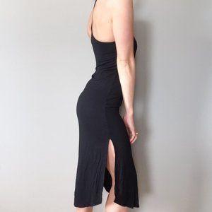 High Neck Racerback Maxi Dress Side Slits